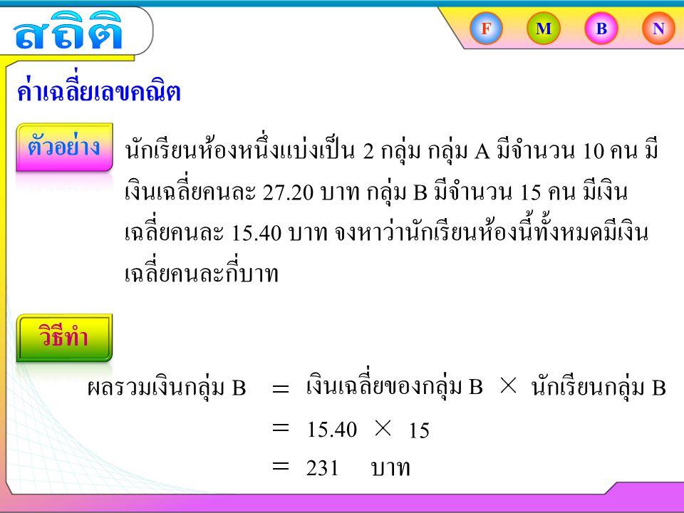 503 25 ผลรวมเงินกลุ่ม A + ผลรวมเงินกลุ่ม B FMBN ค่าเฉลี่ยเลขคณิต นักเรียนห้องหนึ่งแบ่งเป็น 2 กลุ่ม กลุ่ม A มีจำนวน 10 คน มี เงินเฉลี่ยคนละ 27.20 บาท กลุ่ม B มีจำนวน 15 คน มีเงิน เฉลี่ยคนละ 15.40 บาท จงหาว่านักเรียนห้องนี้ทั้งหมดมีเงิน เฉลี่ยคนละกี่บาท เงินเฉลี่ยของห้อง 25 272 + 231 25 20.12