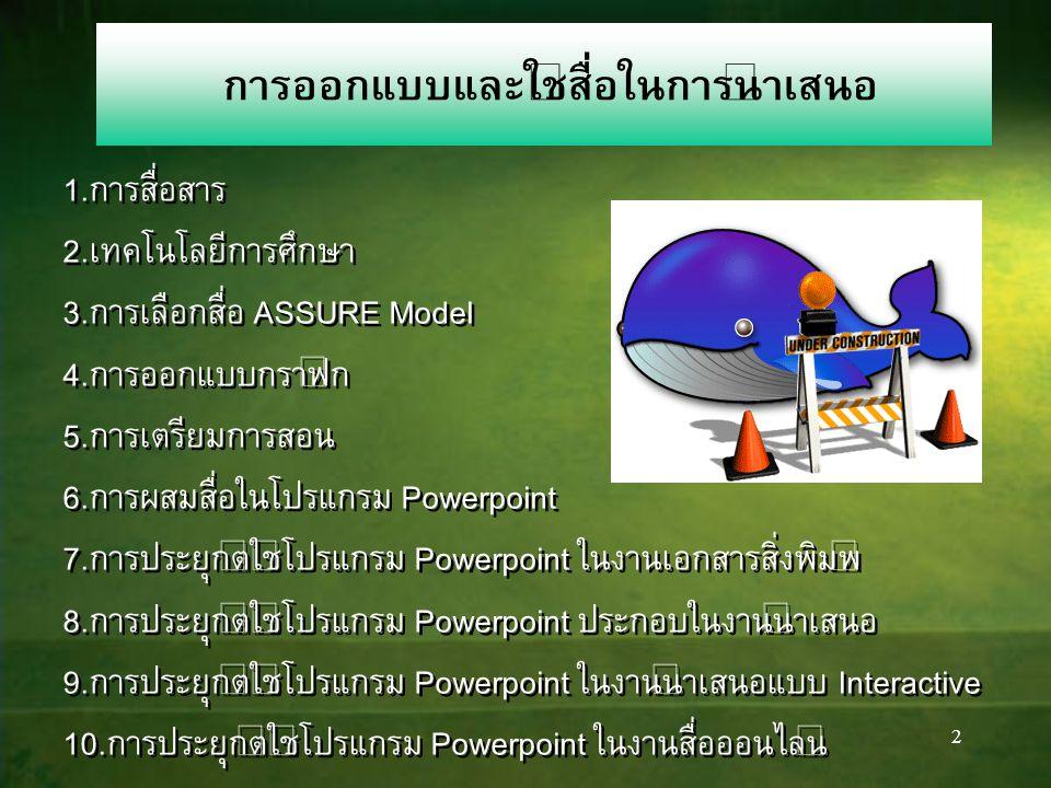 2 การออกแบบและใช้สื่อในการนำเสนอ 1.การสื่อสาร 2.เทคโนโลยีการศึกษา 3.การเลือกสื่อ ASSURE Model 4.การออกแบบกราฟิก 5.การเตรียมการสอน 6.การผสมสื่อในโปรแกรม Powerpoint 7.การประยุกต์ใช้โปรแกรม Powerpoint ในงานเอกสารสิ่งพิมพ์ 8.การประยุกต์ใช้โปรแกรม Powerpoint ประกอบในงานนำเสนอ 9.การประยุกต์ใช้โปรแกรม Powerpoint ในงานนำเสนอแบบ Interactive 10.การประยุกต์ใช้โปรแกรม Powerpoint ในงานสื่อออนไลน์ 1.การสื่อสาร 2.เทคโนโลยีการศึกษา 3.การเลือกสื่อ ASSURE Model 4.การออกแบบกราฟิก 5.การเตรียมการสอน 6.การผสมสื่อในโปรแกรม Powerpoint 7.การประยุกต์ใช้โปรแกรม Powerpoint ในงานเอกสารสิ่งพิมพ์ 8.การประยุกต์ใช้โปรแกรม Powerpoint ประกอบในงานนำเสนอ 9.การประยุกต์ใช้โปรแกรม Powerpoint ในงานนำเสนอแบบ Interactive 10.การประยุกต์ใช้โปรแกรม Powerpoint ในงานสื่อออนไลน์