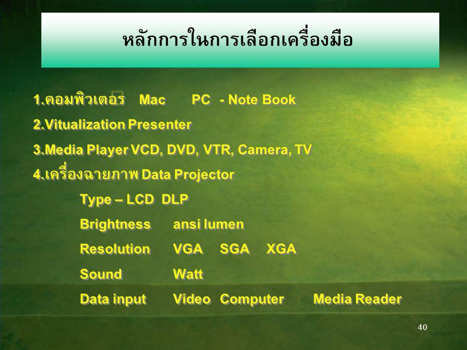 40 หลักการในการเลือกเครื่องมือ 1.คอมพิวเตอร์ Mac PC- Note Book 2.Vitualization Presenter 3.Media Player VCD, DVD, VTR, Camera, TV 4.เครื่องฉายภาพ Data Projector Type – LCD DLP Brightnessansi lumen ResolutionVGASGAXGA SoundWatt Data inputVideoComputerMedia Reader 1.คอมพิวเตอร์ Mac PC- Note Book 2.Vitualization Presenter 3.Media Player VCD, DVD, VTR, Camera, TV 4.เครื่องฉายภาพ Data Projector Type – LCD DLP Brightnessansi lumen ResolutionVGASGAXGA SoundWatt Data inputVideoComputerMedia Reader