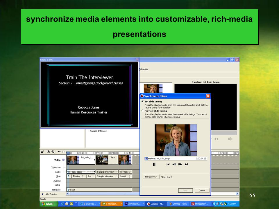 55 synchronize media elements into customizable, rich-media presentations