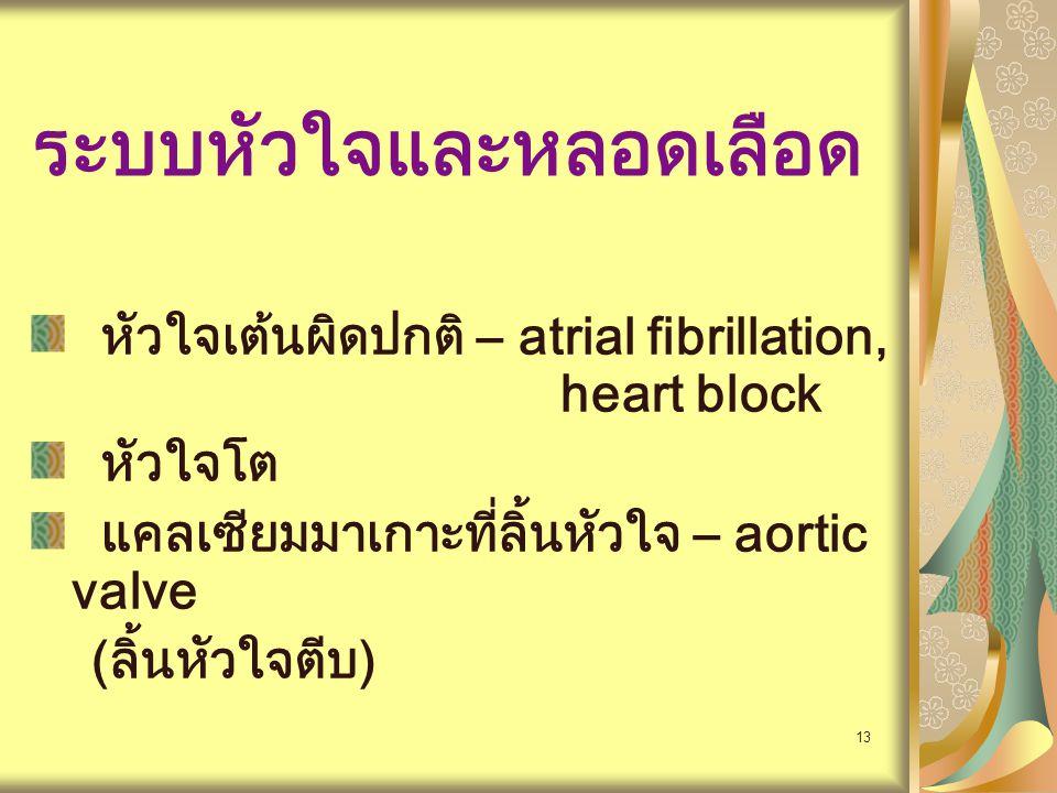 14 ผลกระทบทางคลินิก ช็อครวดเร็วโดยที่ไม่มี tachycardia มี Postural hypotension หัวใจล้มเหลวเมื่อรับปริมาณน้ำ หรือเลือดเพิ่มอย่างเร็ว