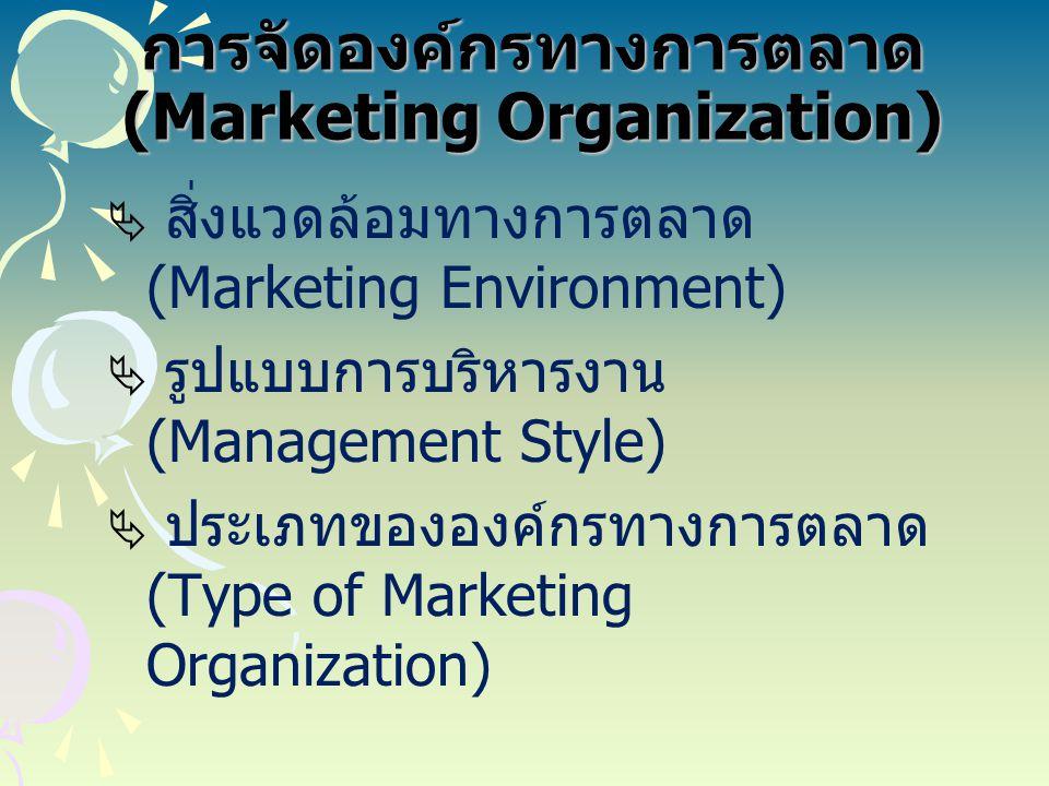 สิ่งแวดล้อมทางการตลาด (Marketing Environment)  ปัจจัยภายนอก บริษัท ได้แก่  ระยะห่างทางเขต ภูมิศาสตร์ต่างๆ  ปัญหาช่วงเวลา ในการติดต่อ  ประเภทของลูกค้า  กฎระเบียบของ รัฐบาล  ปัจจัยภายในบริษัท ได้แก่  ปริมาณยอดขาย  จำนวนตลาด  ขนาดขององค์กร  การบริหาร ทรัพยากรมนุษย์  ความยืดหยุ่นในการ บริหารงาน