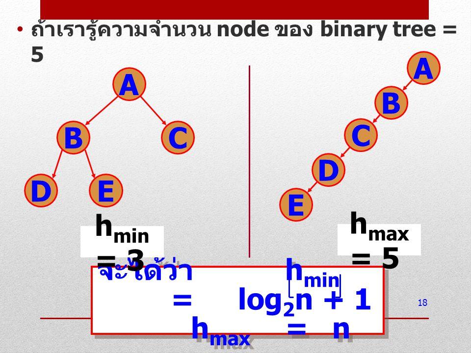การแทนต้นไม้แบบทวิภาคใน คอมพิวเตอร์ binary tree สามารถแทนใน คอมพิวเตอร์ได้ 2 แบบ คือ การแทนโดยอาศัยอาร์เรย์ ใช้อาร์เรย์ 3 อาร์เรย์ในการจัดเก็บ ใช้อาร์เรย์ 1 มิติอาร์เรย์เดียวใน การจัดเก็บ การแทนโดยอาศัย pointer 19