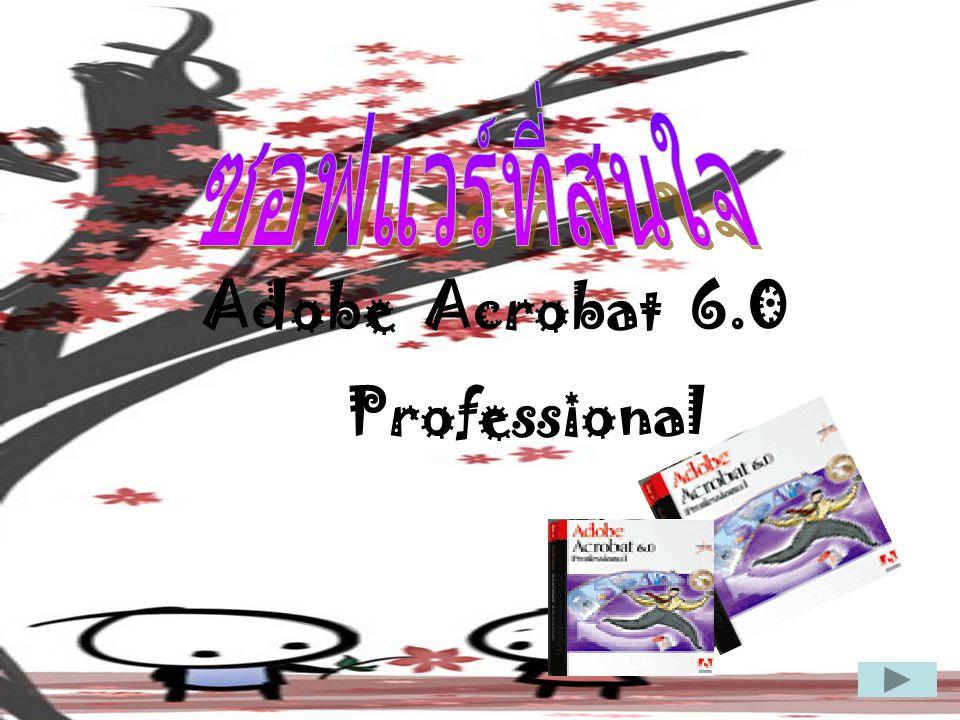 Adobe Acrobat Professional ปัจจุบันจะมีหลายโปรแกรมที่ สามารถสร้างไฟล์ PDF ได้ ไฟล์ PDF มีขนาดเล็ก เหมาะกับการใช้ งานบน Internet และไม่สามารถ แก้ไขข้อมูลได้ โดยโปรแกรมที่นิยม ปัจจุบันนี้คือ Adobe Acrobat ได้ เพิ่มเติมคุณสมบัติอีกหลายอย่างที่ ทำให้โปรแกรมมีความน่าใช้งาน มากขึ้นกว่าเดิม