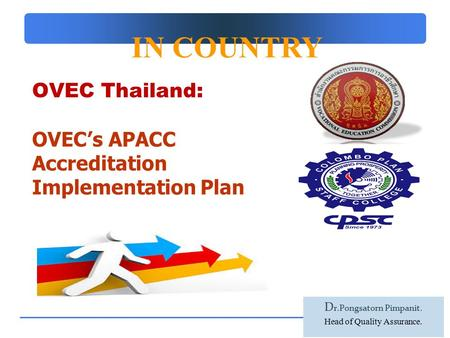 Company Logo OVEC Thailand: OVEC's APACC Accreditation Implementation Plan  IN COUNTRY D r.Pongsatorn Pimpanit. Head of Quality Assurance.