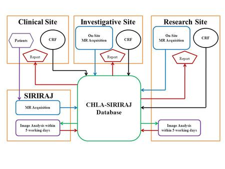 SIRIRAJ Research SiteClinical SiteInvestigative Site CHLA-SIRIRAJ Database Image Analysis within 5 working days MR Acquisition On-Site MR Acquisition Image.