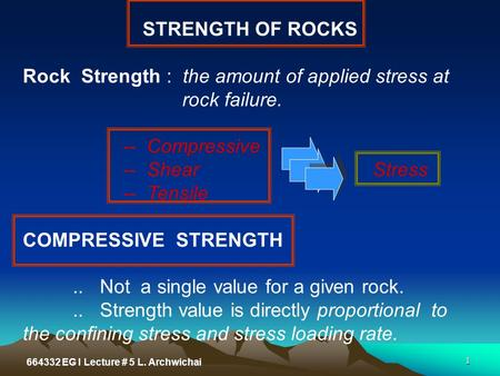 Rock Strength : the amount of applied stress at rock failure.