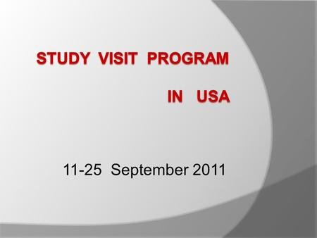 STUDY VISIT PROGRAM IN USA