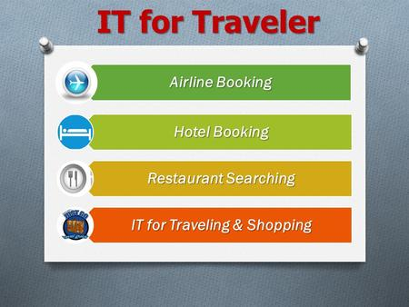 IT for Traveler Airline Booking Hotel Booking Restaurant Searching IT for Traveling & Shopping.