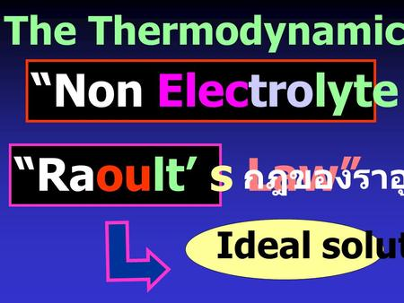 "The Thermodynamics of Solutions ""Non Electrolyte Solution"" ""Raoult' s Law"" Ideal solution กฎของราอูลท์"