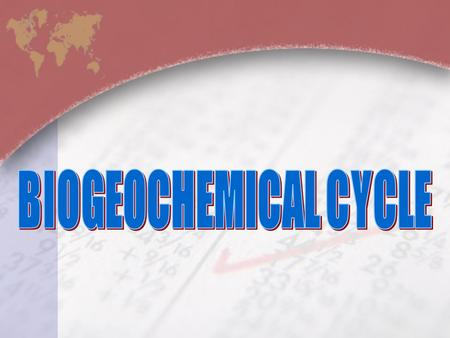 BIOGEOCHEMICAL CYCLE.