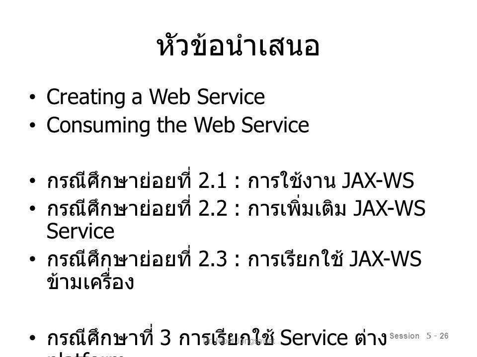 Creating a Web Service Create a new Web Application Add new Web Service – @WebService Add Web Service Operation – @WebMethod – @WebParam Session 5 - 27 Dr.