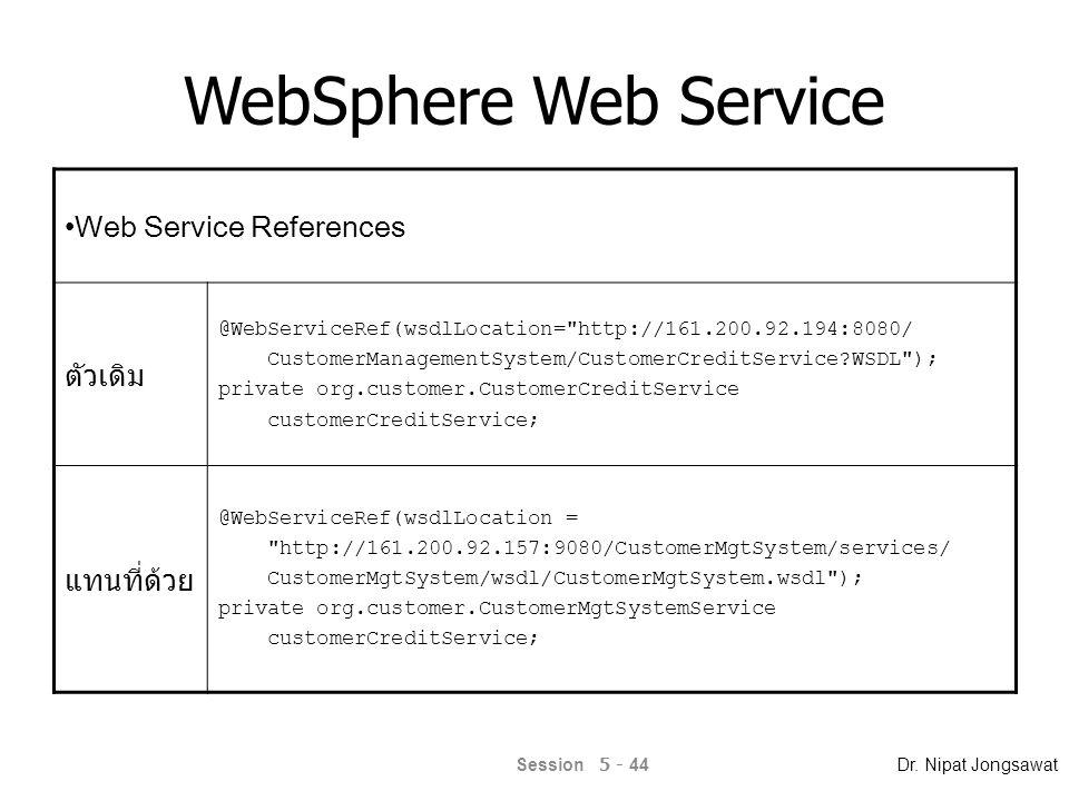 WebSphere Web Service Port/Endpoint ตัวเดิม org.customer.CustomerCredit customerPort = customerCreditService.getCustomerCreditPort(); แทนที่ด้วย org.customer.CustomerMgtSystem customerPort = customerCreditService.getCustomerMgtSystem(); Customer Status Return ตัวเดิม if(!customerPort.getCustomerStatus(custID)) แทนที่ด้วย if(!customerPort.getCustomerStatus(custID).equals( 1 )) Session 5 - 45 Dr.