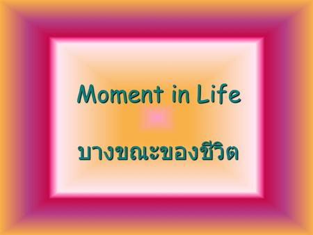 Moment in Life บางขณะของชีวิต There are moments in life when you miss someone so much that you just want to pick them from your dreams and hug them for.