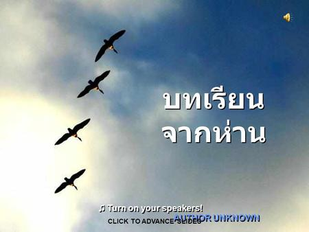 บทเรียน จากห่าน AUTHOR UNKNOWN CLICK TO ADVANCE SLIDES ♫ Turn on your speakers! ♫ Turn on your speakers!