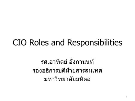 CIO Roles and Responsibilities