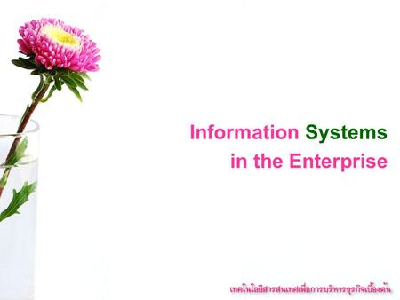 Information Systems in the Enterprise. Key System Applications in the Organization.