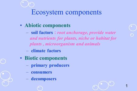1 Ecosystem components Abiotic components – soil factors : root anchorage, provide water and nutrients for plants, niche or habitat for plants, microorganism.