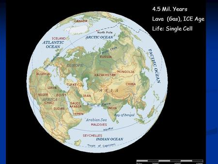 4.5 Mil. Years Lava (Gas), ICE Age Life: Single Cell.