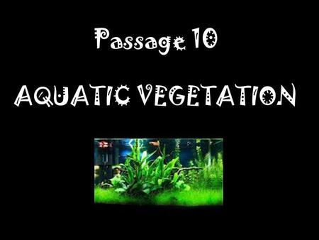 Passage 10 AQUATIC VEGETATION.