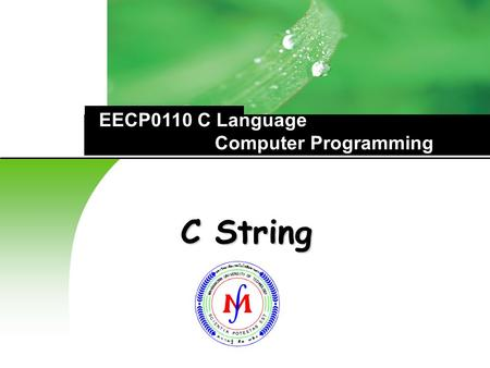 C String EECP0110 C Language Computer Programming.