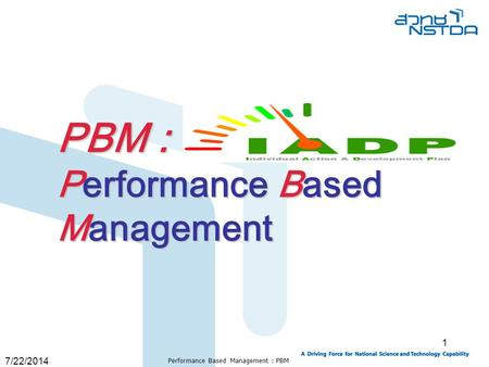 7/22/2014 Performance Based Management : PBM 1 PBM : Performance Based Management.