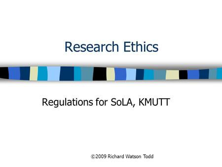 Regulations for SoLA, KMUTT