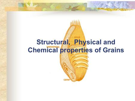 Structural, Physical and Chemical properties of Grains.