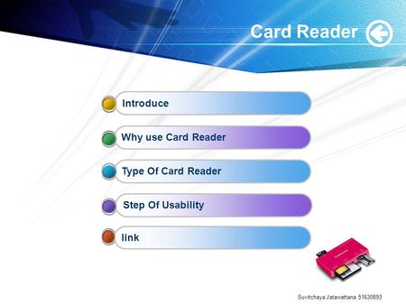 Suvitchaya Jatawattana 51630893 Card Reader IntroduceWhy use Card ReaderType Of Card ReaderStep Of Usabilitylink.
