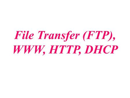 File Transfer (FTP), WWW, HTTP, DHCP.