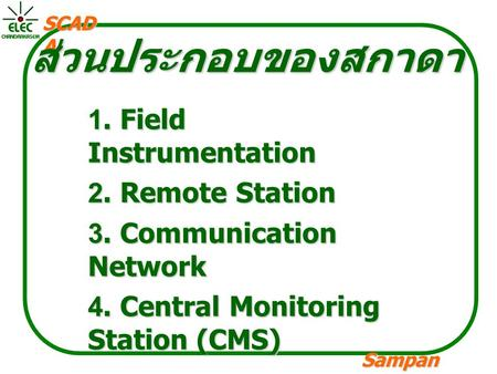 Sampan langpamun SCAD A ส่วนประกอบของสกาดา 1. Field Instrumentation 2. Remote Station 3. Communication Network 4. Central Monitoring Station (CMS)