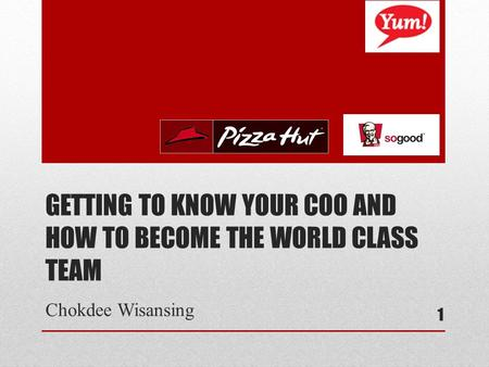 GETTING TO KNOW YOUR COO AND HOW TO BECOME THE WORLD CLASS TEAM Chokdee Wisansing 1.