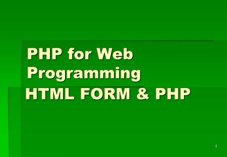 PHP for Web Programming
