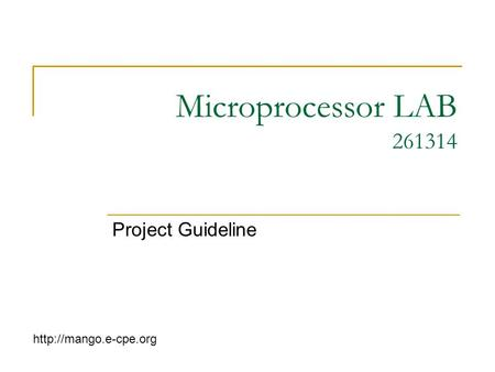 Microprocessor LAB 261314 Project Guideline