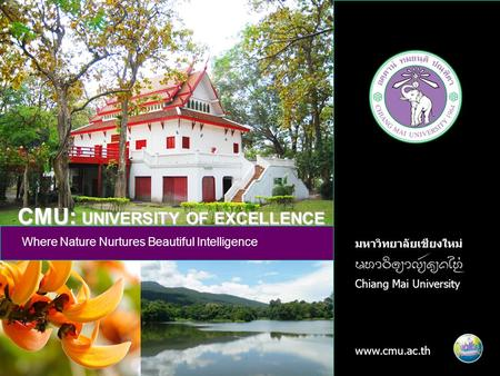 1 มหาวิทยาลัยเชียงใหม่ Chiang Mai University www.cmu.ac.th Where Nature Nurtures Beautiful Intelligence CMU: UNIVERSITY OF EXCELLENCE.