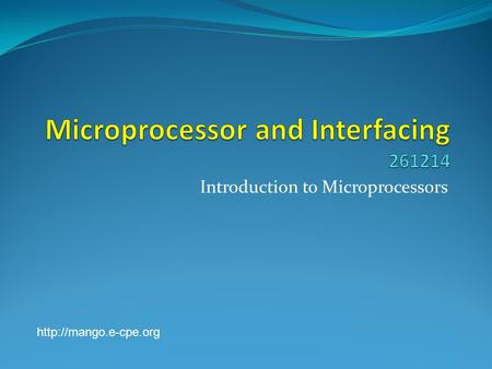 Introduction to Microprocessors
