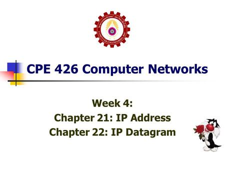 CPE 426 Computer Networks Week 4: Chapter 21: IP Address Chapter 22: IP Datagram.