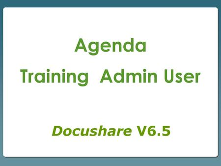 Agenda Training Admin User