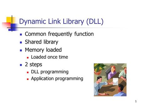 1 Dynamic Link Library (DLL) Common frequently function Shared library Memory loaded Loaded once time 2 steps DLL programming Application programming.