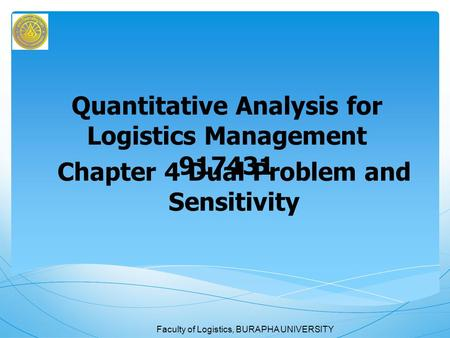 Quantitative Analysis for Logistics Management