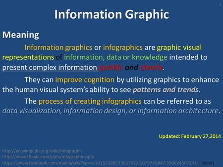 Information Graphic Meaning quickly and clearly. Information graphics or infographics are graphic visual representations of information, data or knowledge.