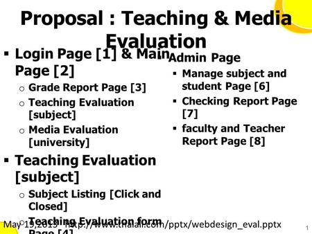 Proposal : Teaching & Media Evaluation  Login Page [1] & Main Page [2] o Grade Report Page [3] o Teaching Evaluation [subject] o Media Evaluation [university]