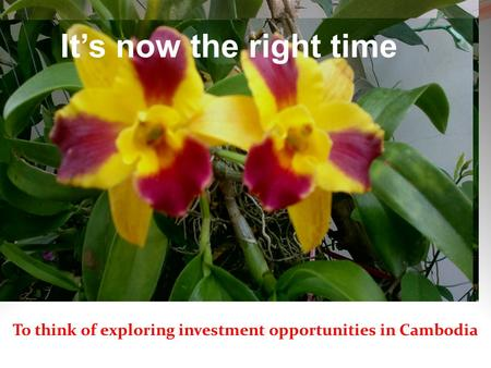 ขะแมร์เลอ ขะแมร์กรอม It's now the right time To think of exploring investment opportunities in Cambodia.