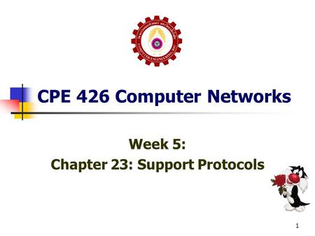 1 CPE 426 Computer Networks Week 5: Chapter 23: Support Protocols.