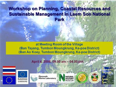 Workshop on Planning, Coastal Resources and Sustainable Management in Laem Son National Park at Meeting Room of the Village (Ban Tayang, Tumbon Moungkrung,