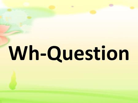 Wh-Question.