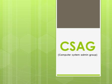 CSAG (Computer system admin group). CMS (Content Management System)