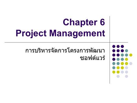 Chapter 6 Project Management