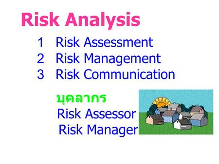 Risk Analysis 1 Risk Assessment 2 Risk Management 3 Risk Communication บุคลากร Risk Assessor Risk Manager.