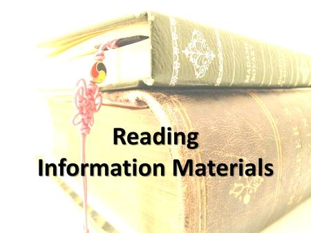 Reading Information Materials. 1.Finding information for cataloging work (CIP: cataloging-in-publication /Title page) 2.Abstract 3.Annotation 4.Book Review.